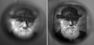 Figure 1. Images formed by a single-index spherical lens (left) vs. a graded index lens (right).