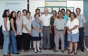Prof. MacDiarmid with local high school teachers from Humacao who each brought 15 students to his lecture.