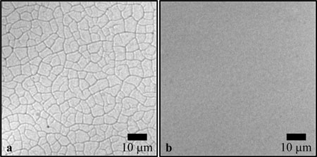 Optical microscope images of 22 nm silica nanoparticle films formed at a rotational rate of 2000 rpm and deposited on glass substrates: (a) 480 nm single-coated film generated from a nominal suspension concentration of 22.5 wt % silica. This image displays a fully interconnected crack network in the final film; (b) 494 nm multi-coated film consisting of 14 total coatings deposited consecutively from a 2 wt % silica suspension. Each coating has a nominal thickness of 35 nm. Subsequent coatings were performed with about a 20 min time duration between each deposition. The multi-coated film was observed to remain crack-free throughout its fabrication which is confirmed by this image.