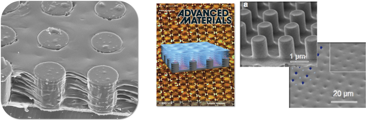 "left: Layers of smectic liquid crystal filling up a ""bed of nails"" right: The lattice of dimples reflects the underlying lattice of posts in both symmetry and dimension, demonstrating control of these materials for optical applications"