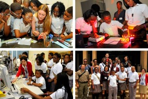 Girard students engaged in hands-on activities and a group photo with school teachers and Penn staff