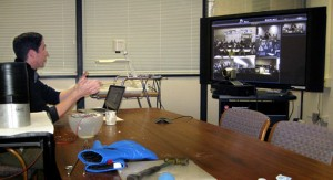 Professor Dan Gianola, Materials Science and Engineering, presenting: 'Size Matters- Smaller is Better' using MRSEC Video Conferencing equipment. High schools participating in this video conference: Hamburg Area S.D, Kutztown Area S.D., Montgomery County I.U., Mannheim Township HS, and West York Area H.S.